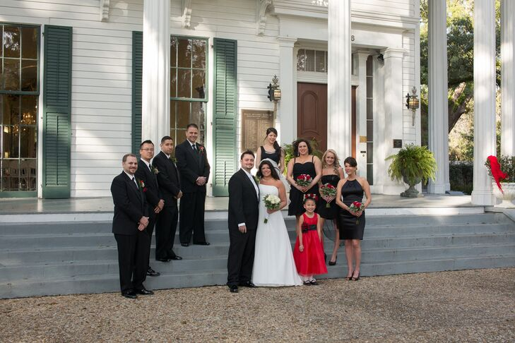 The couple kept things simple and classic, asking their bridesmaids and groomsmen to wear black suits and cocktail dresses to the wedding.