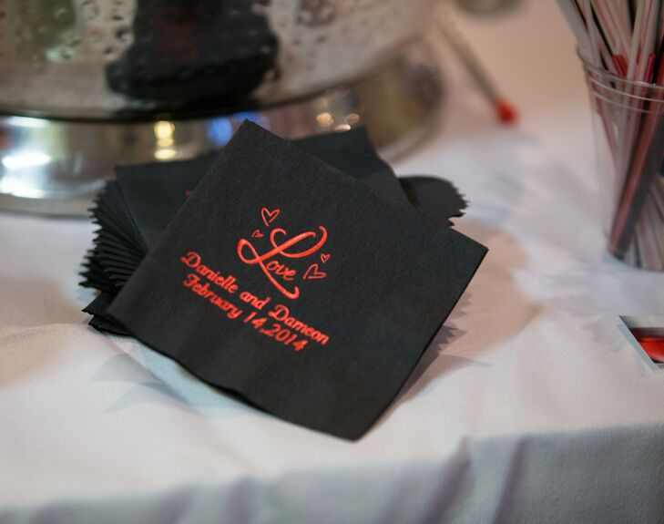 Black and Red Monogrammed Cocktail Napkins