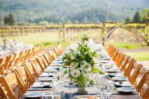 Blue Linens with Ivory and Green Centerpeices