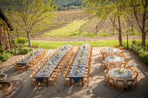 Rustic Reception with Vineyard Backdrop