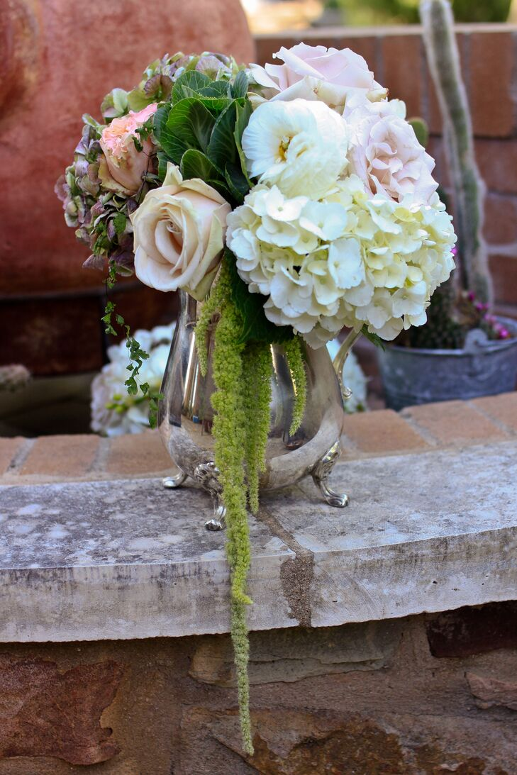 Peach and Ivory Flowers with Trailing Amaranthus