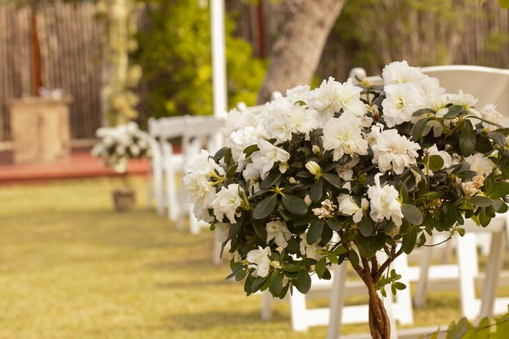 White Floral Tree Aisle Decoration at Star Hill Ranch