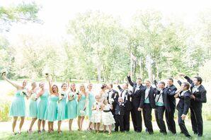 Turquoise Bridesmaid Dresses and Groomsmen Attire