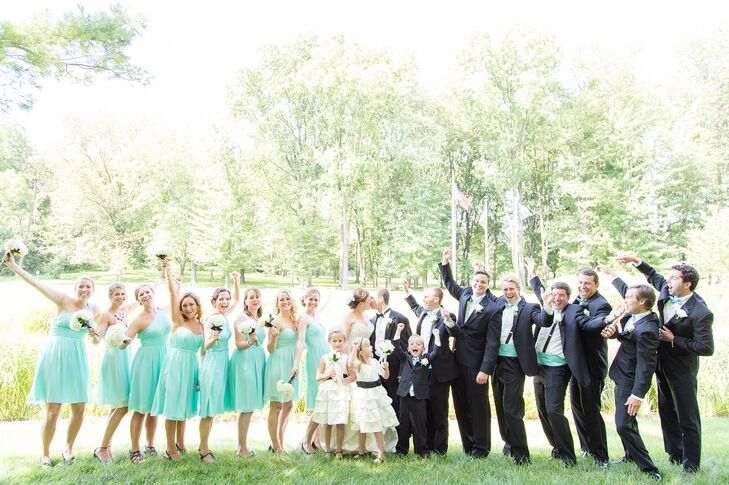 Turquoise Bridesmaid Dresses And Groomsmen Attire