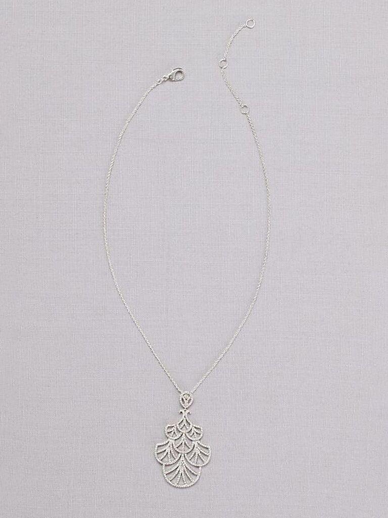 Silver retro fan wedding necklace