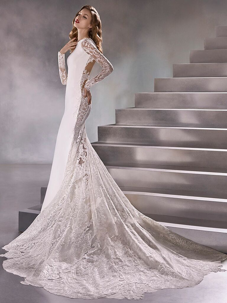 Atelier Provonias wedding dress long-sleeve trumpet with sheer lace back