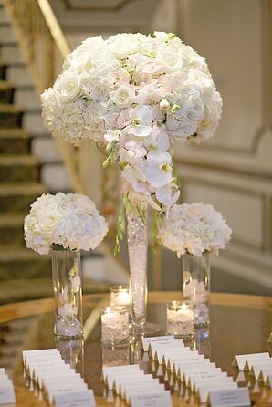 Tiered Ivory Hydrangea, Orchid and Rose Centerpieces