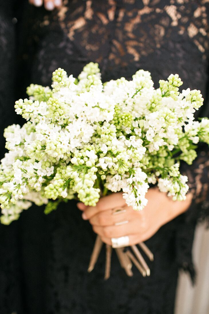 Simple White and Green Spring Bridesmaid Bouquets