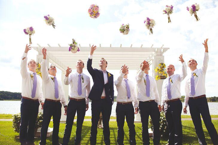 Groomsmen Tossing Bouquets