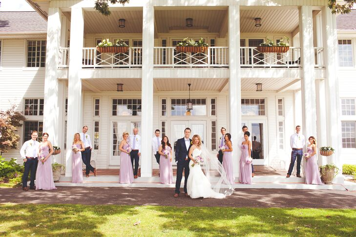 Bridesmaids in Lilac Floor-Length Dresses