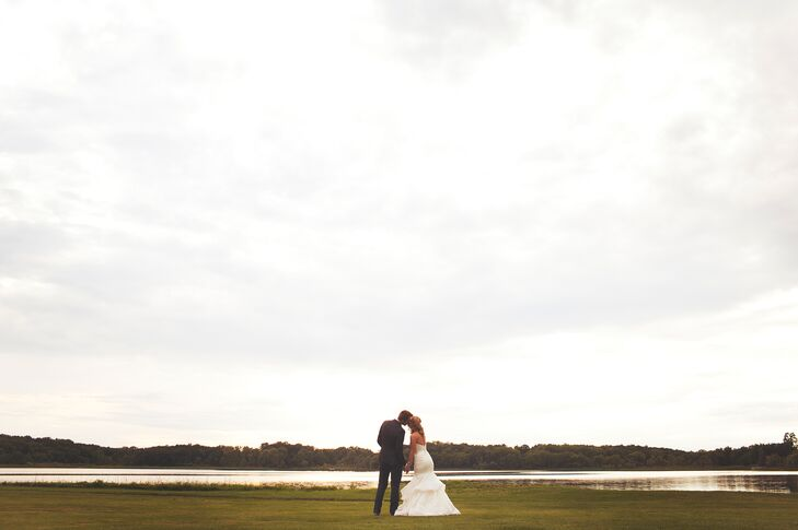 """The couple wed at the Waldenwoods Banquet and Conference Center in Hartland. """"I can't say more wonderful things about this place!"""" the bride says. """"I fell in love with it the first time I saw it."""""""