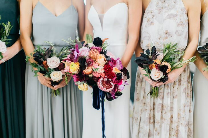 Bold Protea, Rose, Scabiosa and Celosia Bouquets