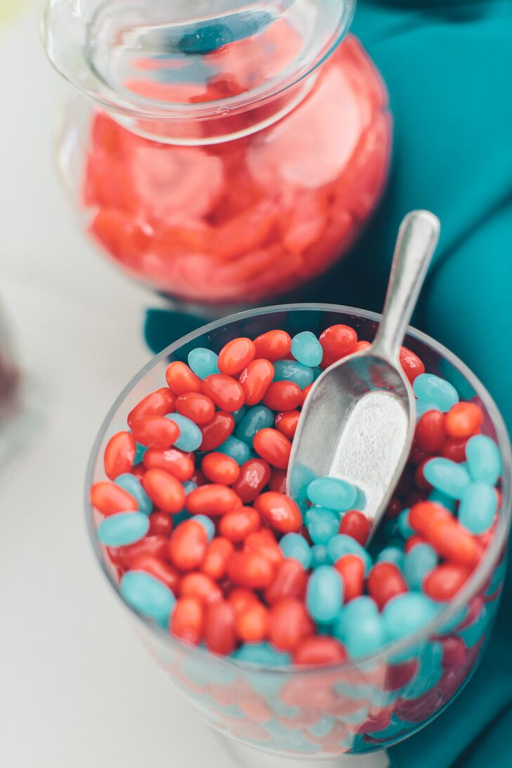 Bright red and turquoise candies were served to guests as sweet treats.