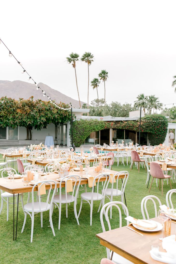 Whimsical Outdoor Reception at The Frederick Loewe Estate in Palm Springs, California