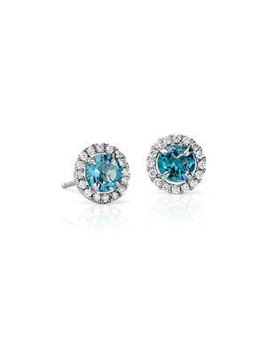 Blue Nile Blue Topaz and Micropavé Diamond Earrings Wedding Earring photo