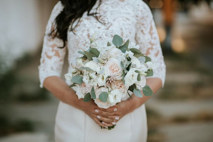 Romantic Blush and White Bouquet of Garden Roses, Eucalyptus and Dusty Miller