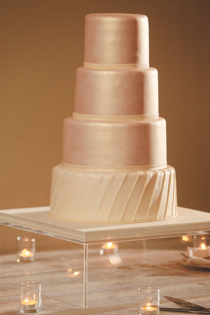Modern Pearly Pink Wedding Cake On Clear Cake Stand