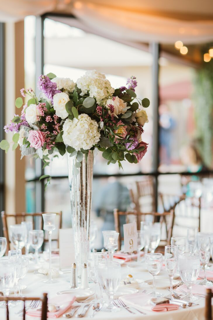 Pale Purple Rose, Stock and Hydrangea Centerpiece