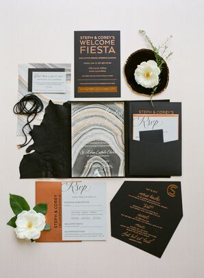 Black-and-Copper Invitation Suite with Marble Details