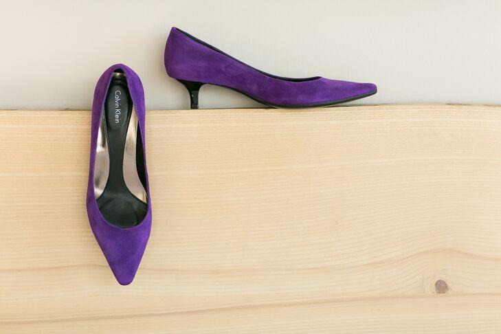 Purple Suede Calvin Klein Wedding Heels