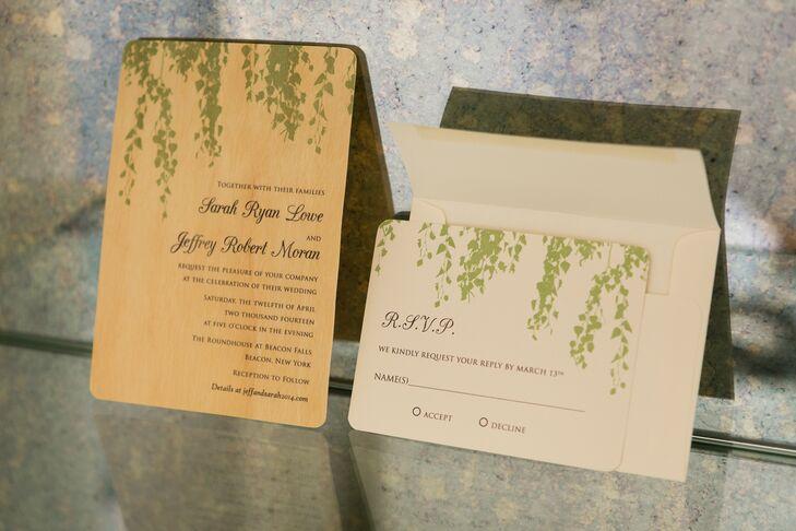 Garden-Inspired Wood Wedding Invitation