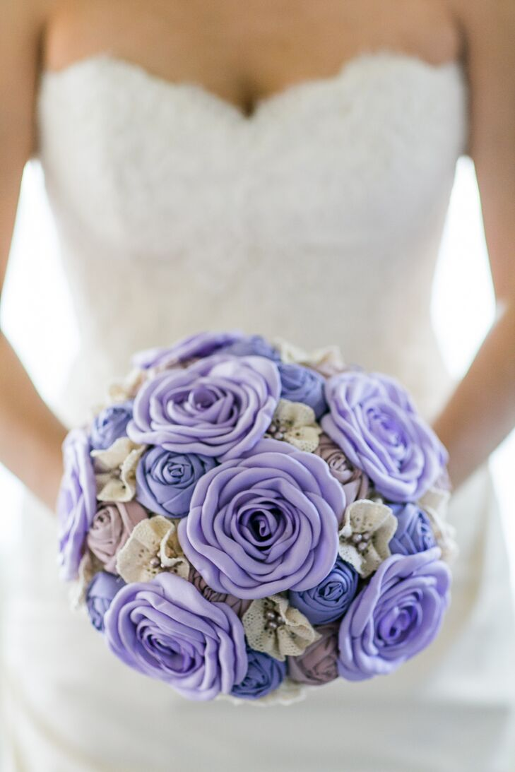 Purple Fabric Flower Bouquet