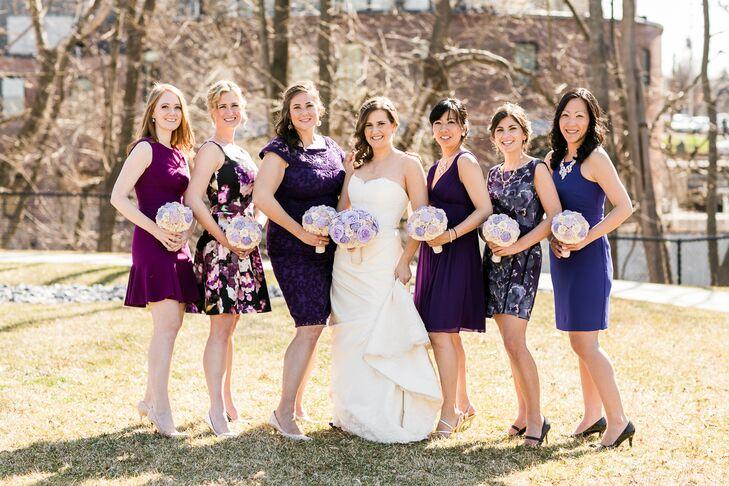 Mistmatched Purple Bridesmaid Dresses