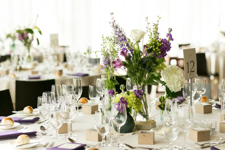 DIY Purple and Green Floral Centerpieces
