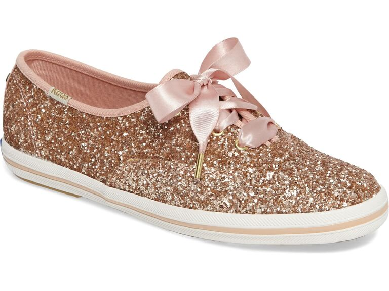 Rose gold sparkly wedding sneakers