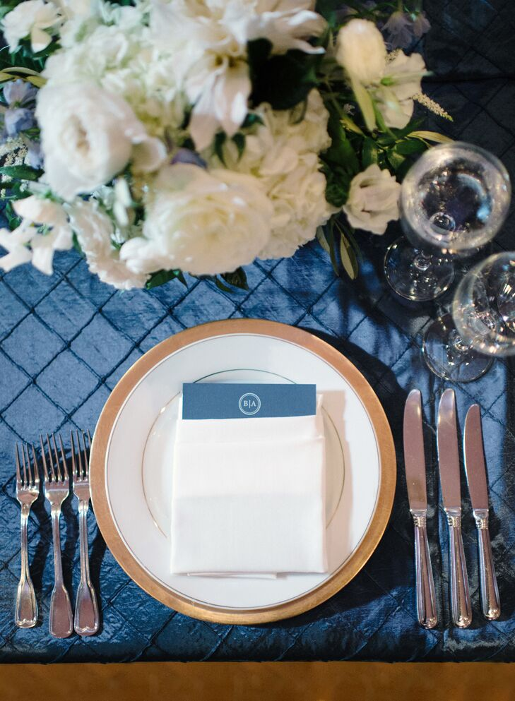 Formal Gold Charger on Blue Tablecloth