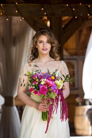 Bold Purple, Pink, Burgundy Bridal Bouquet