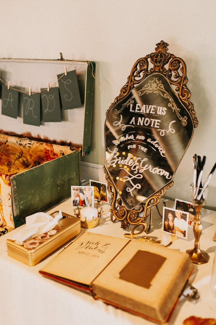 Vintage Mirror Guest Book Sign