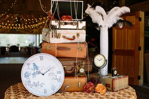 Vintage Luggage and Clock Wedding Accents
