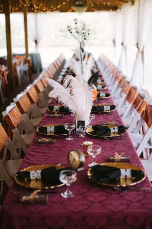 Burgundy, Black and Gold Steampunk Reception Decor
