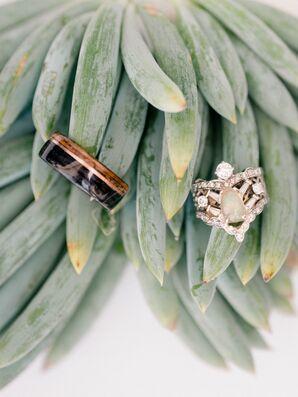 Bohemian Wood and Opal Wedding Rings