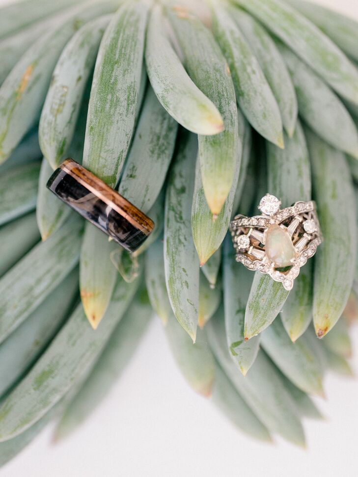 Bohemian Wood and Opal Wedding Rings