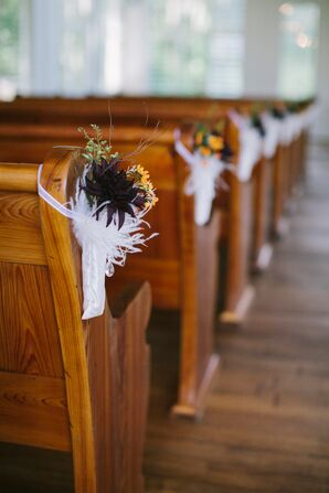 Black Dahlia and White Feather Aisle Decor