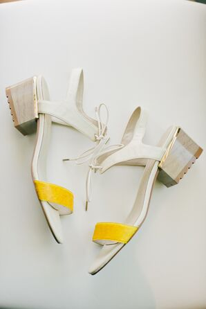 Modern, Yellow and White Bridal Shoes