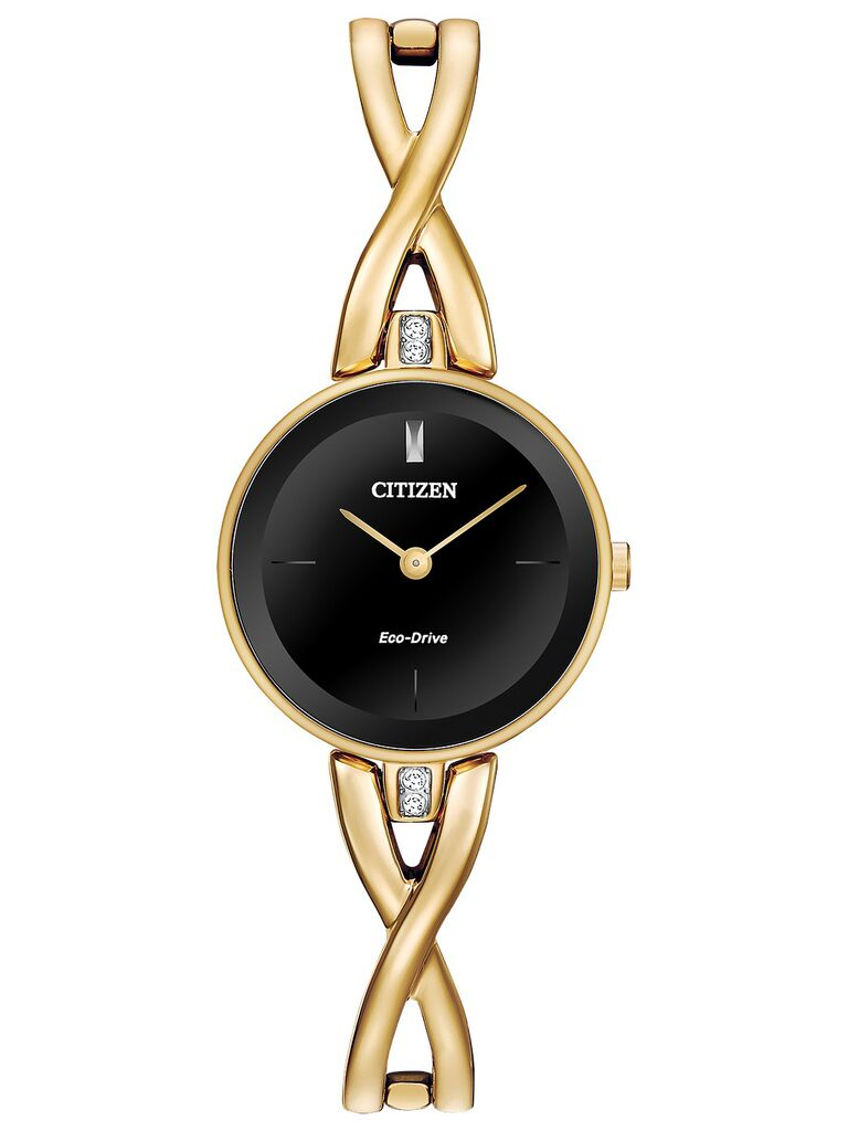 15-year anniversary gift watch with twisted gold band and black dial