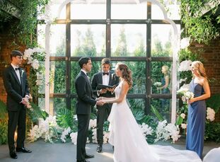 New Yorkers Annie and Arjun wanted a crisp, modern wedding that was in line with their style while also honoring Arjun's Indian heritage. The result w