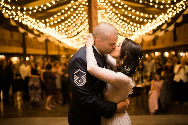 Military Couple Kissing During First Dance