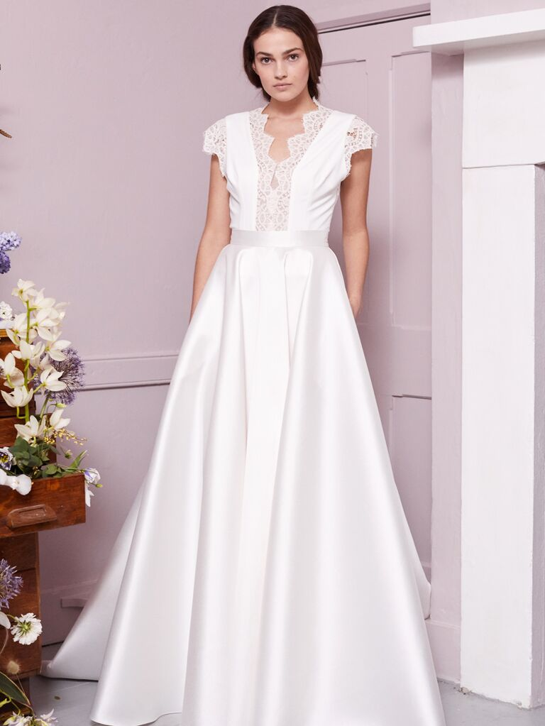 Halfpenny London 2020 Bridal Collection cap sleeve A-line wedding dress with lace detail