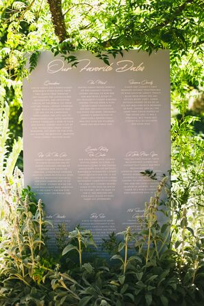 Seating Chart Display with Overgrown Greenery