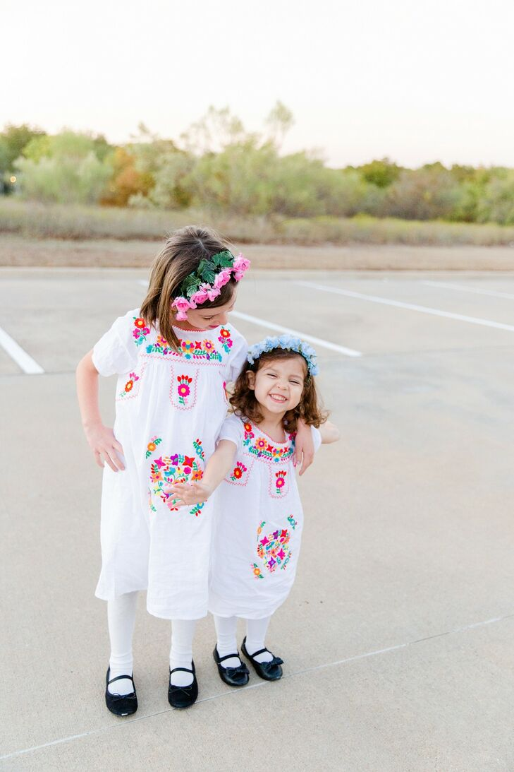 Flower Girls with Colorful Dresses and Flower Crowns