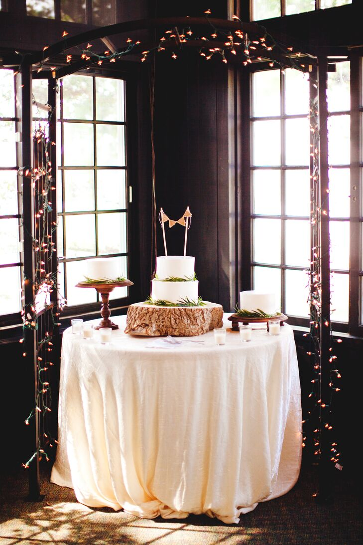 Rustic Dessert Table with String Lights