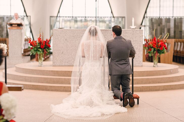 """The couple got married at St. Anselm Parish in St. Louis, Missouri, where Nicole's parents were married. """"The design is stunning,"""" Dan says."""