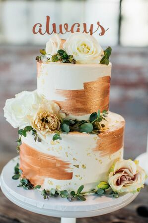 Cake With Copper Brushstrokes