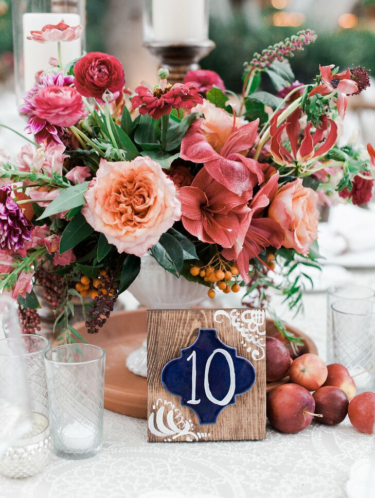 Bohemian Wood Table Number with Bright Coral Centerpiece