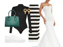 stylish outfit and wedding dress