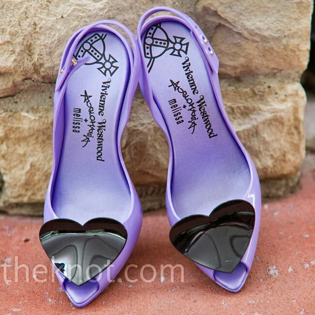 After months of searching, Hanh finally settled on this pair of light purple rubbery heels with black hearts.